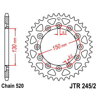 Звезда JT задняя JTR245/2.42 #520 Y WR250/450