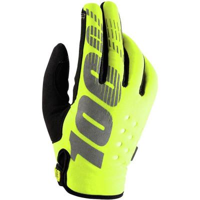 Мотоперчатки детские 100% Brisker Youth Flou Yellow L
