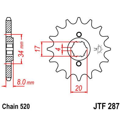 Звезда JT передняя JTF287.13 #520 CRF230