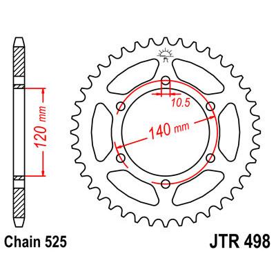 Звезда JT задняя JTR498.46 #525 S GSXR600