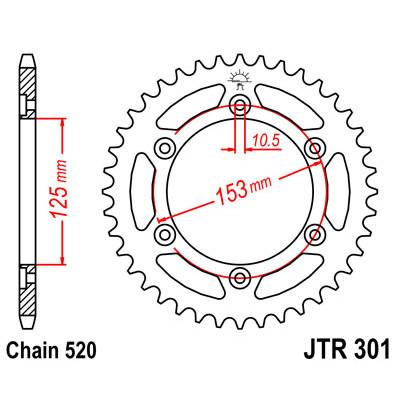 Звезда JT задняя JTR301.45 #520 H XR650