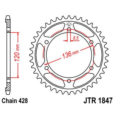 Звезда JT задняя JTR1847.48 #428 Y XT250 Serrow
