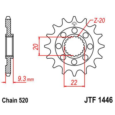Звезда JT передняя JTF1446.14SC #520 K KX250F
