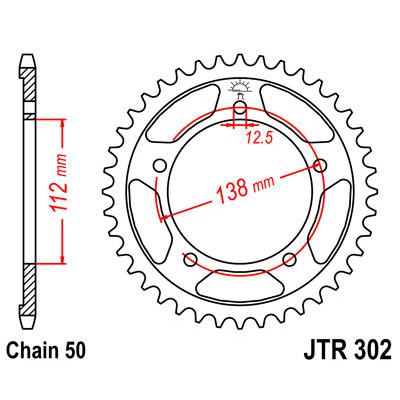 Звезда JT задняя JTR302.41 #530 VTR1000F, CBF1000, CB1300 X4