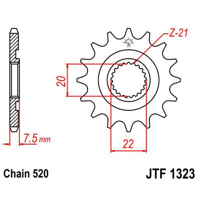 Звезда JT передняя JTF1323.14SC #520 H CRF250