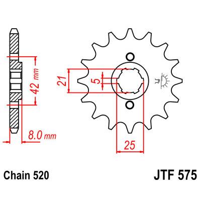 Звезда JT передняя JTF575.16 #520 Y XJR400