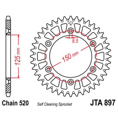Звезда JT задняя JTA897.49 #520 KTM аллюминий