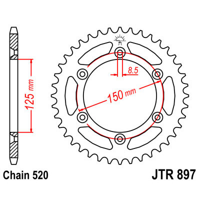 Звезда JT задняя JTR897.50 #520 KTM