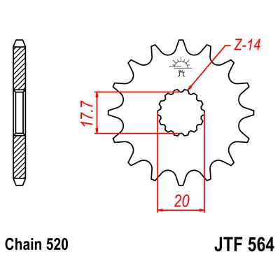 Звезда JT передняя JTF564.13 #520 Y YZ125 89-04
