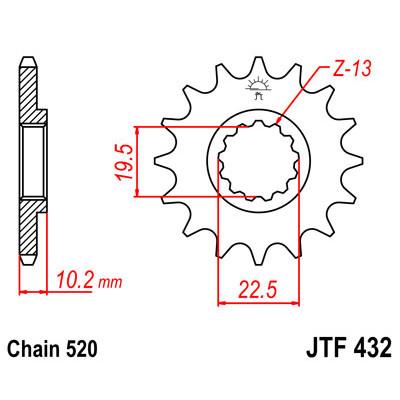 Звезда JT передняя JTF432.15SC #520 S DR250 RM250