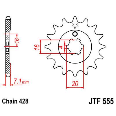 Звезда JT передняя JTF555.15 #428 Y XT225 Serow
