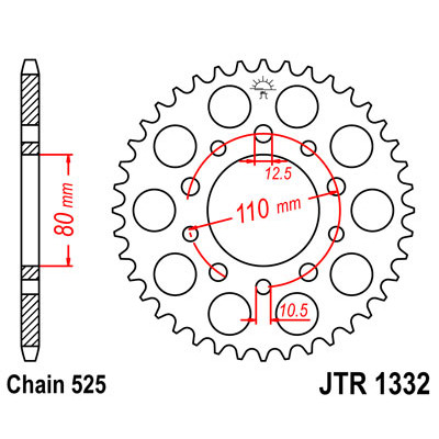 Звезда JT задняя JTR1332.44 #525 H XRV750