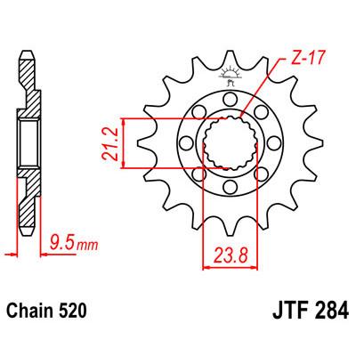 Звезда JT передняя JTF284.14SC #520 H CRF450