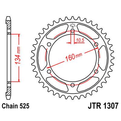 Звезда JT задняя JTR1307.43 #525 H CBR600RR 03-06 USA