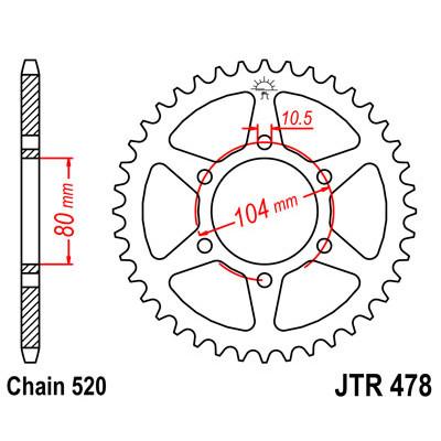 Звезда JT задняя JTR478.45 #520 ZXR400R, Z800, Ninja 650R