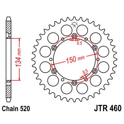 Звезда JT задняя JTR460.48 #520 K KLX250 KX450F