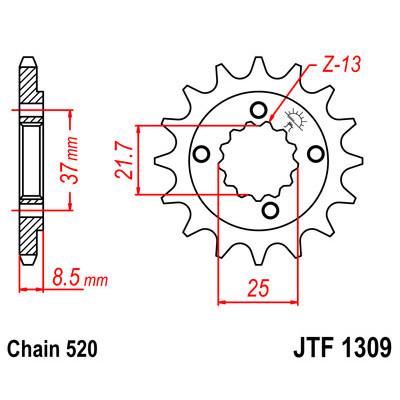 Звезда JT передняя JTF1309.15 #520 H XR650