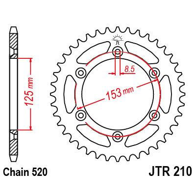 Звезда JT задняя JTR210.45 #520 H CR250 CRF150/250/450 XR250/650
