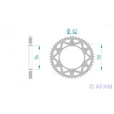 Звезда Afam ведомая (алюминий) 17206+49 #520 K KX125 KLX650 (460.49)