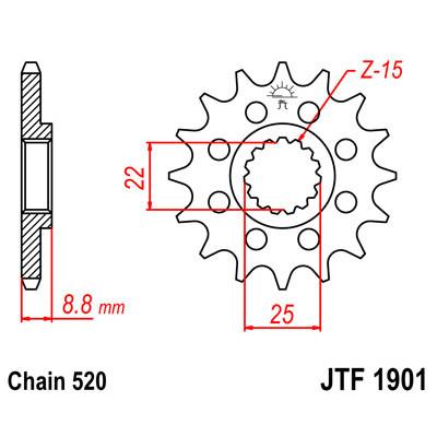 Звезда JT передняя JTF1901.14SC #520 KTM