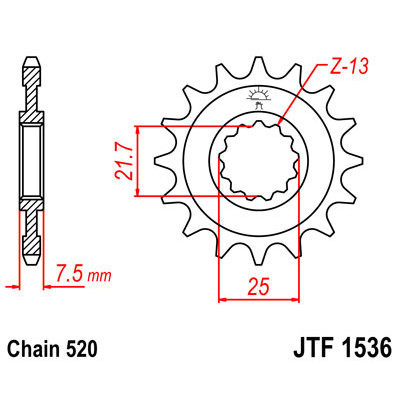 Звезда JT передняя JTF1536.16 #520 K ZX6R