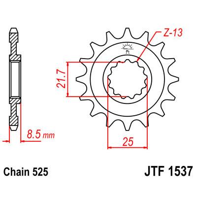 Звезда JT передняя JTF1537.16 #525 Z1000 03-06 ZX9R 02-03