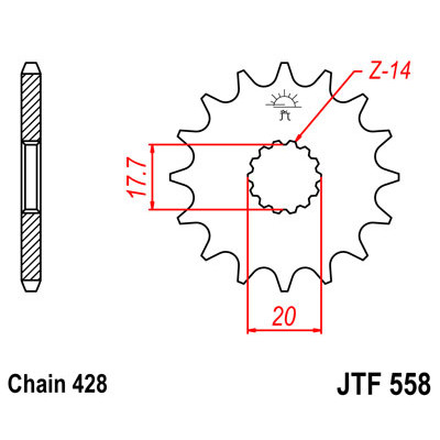 Звезда JT передняя JTF558.13 #428 Y YZ85