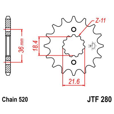 Звезда JT передняя JTF280.13 #520 AX-1 XL250