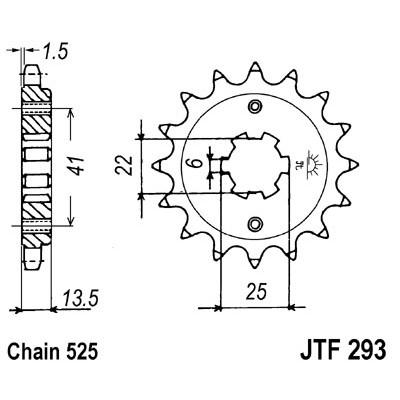 Звезда JT передняя JTF293.15 #525 XL400/600 Transalp