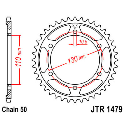 Звезда JT задняя JTR1479.47 #530 YZF-R1 09-14