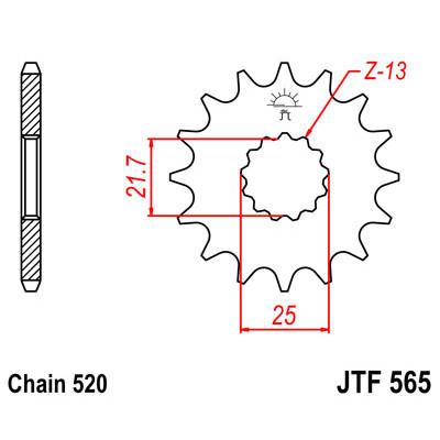 Звезда JT передняя JTF1565.14SC #520 K KX450F 06-16, KLX450R 08-16