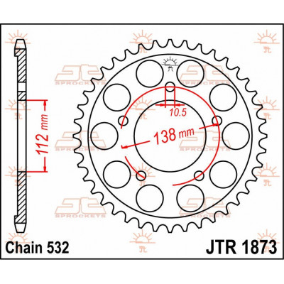 Звезда JT задняя JTR1873.48 #532 Y YZF-R6