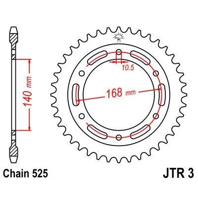 Звезда JT задняя JTR3.42 #525 BMW F650/700/800GS