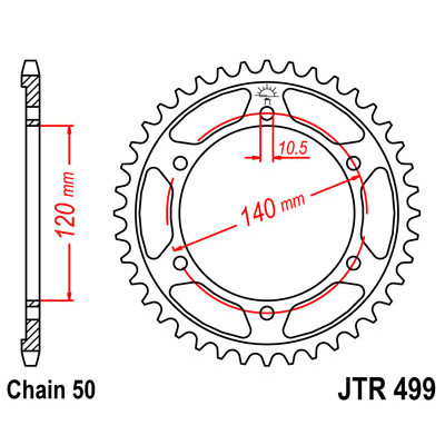 Звезда JT задняя JTR499.45 #530 K ZZR600/400