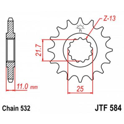 Звезда JT передняя JTF584.17 #532 Y FZR1000, GTS1000, YZF1000
