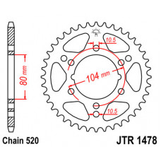 Звезда JT задняя JTR1478.40 #520 K ZX6R
