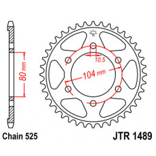 Звезда JT задняя JTR1489.42 #520 ZX7RR Z1000