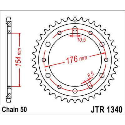 Звезда JT задняя JTR1340.45 #530 H CB1000R