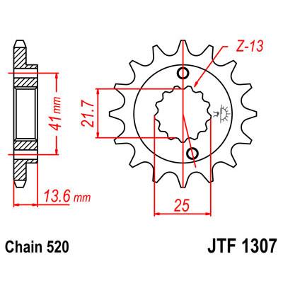 Звезда JT передняя JTF1307.14 #520 H XR650 00-07