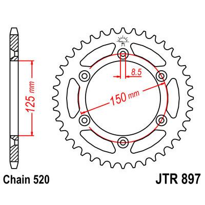 Звезда JT задняя JTR897.45 #520 KTM620/690