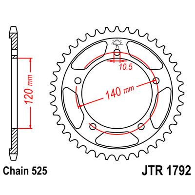Звезда JT задняя JTR1792.47 #525 S DL650 V-STROM 04-16