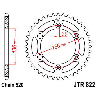 Звезда JT задняя JTR822.48 #520 S DR250 90-95