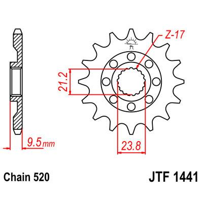 Звезда JT передняя JTF1441.14SC #520 S RMZ/RMX450