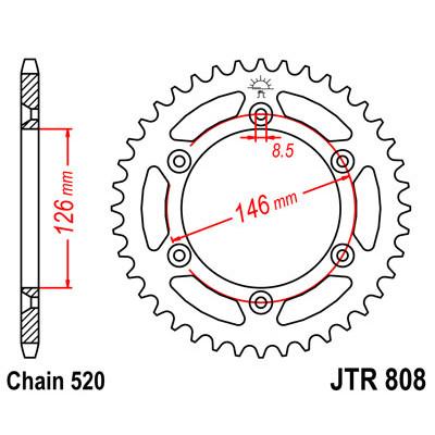 Звезда JT задняя JTR808.49 #520 S RMZ250 10-15
