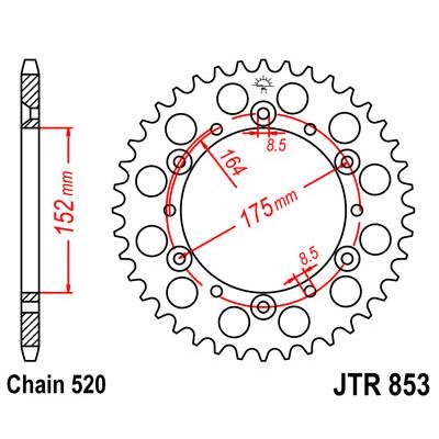 Звезда JT задняя JTR853.50 #520 Y TTR250